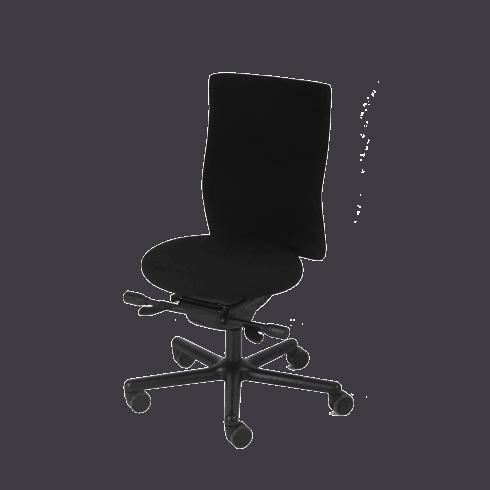 Perfekt stol til korte personer. Det runde sæde gør det muligt både at få fødderne på gulvet og nå ryglænet. Ergoforma.